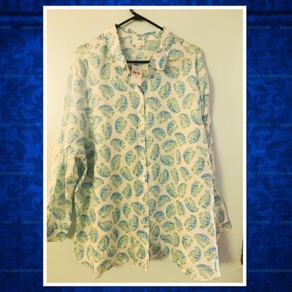 0dd7d38b J. Jill Tops | Jjill Long Sleeve Paisley Linen Bigshirt | Poshmark
